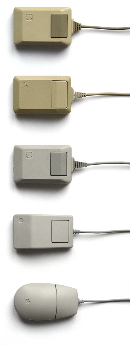 Macintosh Mouse (beige), Apple Mouse IIc, Macintosh Mouse (platinum), Apple Desktop Bus (ADB) Mouse, Apple Desktop Bus Mouse II