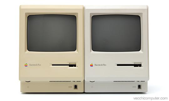 Apple Macintosh Plus - 1986 beige vs 1987 platinum gray