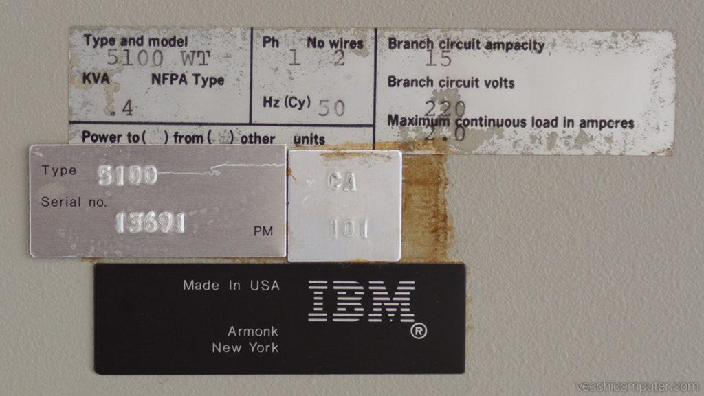 IBM 5100 - numero di serie